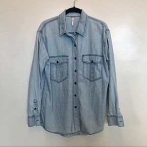 Free People | Blue Oversized Chambray Shirt
